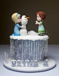 Want to Build a Snowman Frozen Cake with Elsa, Anna, and Olof by Rouvelee's Creations