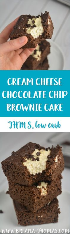 Cream Cheese Chocolate Chip Brownie Cake - moist chocolate cake with cheesecake filling and chocolate chips - only takes a few ingredients - so easy to make! - full size version of the Cream Cheese Chocolate Chip Muffin that so many of you love! - THM S - low carb - sugar free - low glycemic - gluten free - nut free