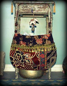 Boho floral velvet bag by Justbepurses on Etsy