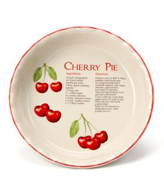 Take a look at this Dennis East Cherry Recipe Pie Plate by Thanksgiving Pie Collection on #zulily today!