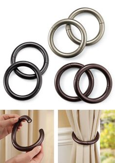 Magnetic Curtain Tie Backs hold curtains open without permanent fixtures. Solutions.com #Home #Curtains