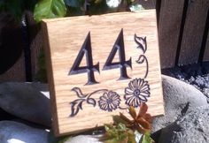 House Number Sign - Square - 150 x House Number Plates, House Numbers, Bramble, Design Your Home, Home Signs, Solid Oak, Woodworking, Make It Yourself, Ideas