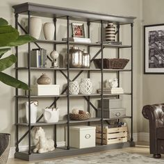 Features: -Material: Poplar solid wood. -Eastgate collection. -Metal tube with powder coating. Product Type: -Etagere. Style (Old): -Industrial. Frame Material: -Wood. Shelving Included: -Yes.
