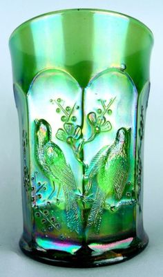 SINGING BIRDS by NORTHWOOD ~ EMERALD GREEN CARNIVAL GLASS TUMBLER 175usd