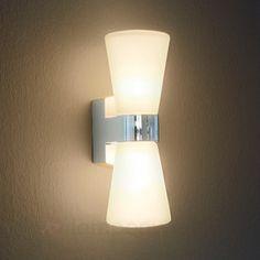 Wandleuchte Eylsa 2-flammig Badleuchte Glas Schalter Wandlampe Spiegelleuchte