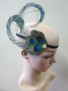 Burlesque 1920s inspired peacock Feather Fascinator flapper headband