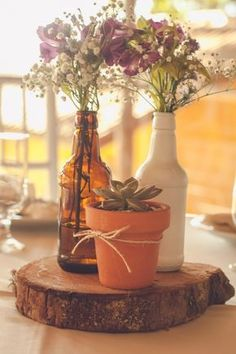 Inspirações para um casamento rústico: centro de mesa DIY