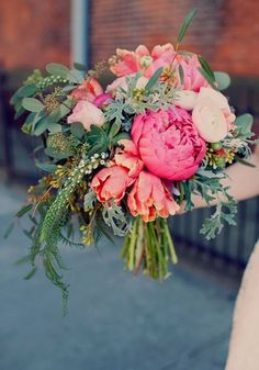This peony bouquet is perfect for summer weddings, bright, blousy and full of romance! Accent greenery gives it bags of style too. Be inspired by 15 Of The Prettiest Pink Peonies For Your Wedding • Wedding Ideas magazine