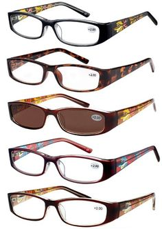 501a32bb6fef Amazon.com  Eyecedar 5-Pack Metal Spring Hinges Reading Glasses Women  Cellulose Propionate Material 5-Colors Packaging Brown Lens Sun Reader  Reading Glasses ...