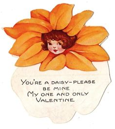 VINTAGE DAISY FLOWER GIRL VALENTINE CARD.
