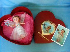 "1950's Vintage 7"" Plastic Kewpie Christmas Fairy Doll O.O.A.K. w Heart Gift Box Christmas Tree Fairy, Christmas Ornaments, Fairy Clothes, Kewpie, Fairy Dolls, Antique Dolls, Vintage Christmas, 1950s, Gifts"