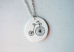 Necklace Bike by NuriaDiazShop on Etsy, Ceramic Pendant, Ceramic Jewelry, Clay Jewelry, Tree Necklace, Diy Necklace, Pendant Necklace, Biscuit, Resin Jewelry Making, Imitation Jewelry