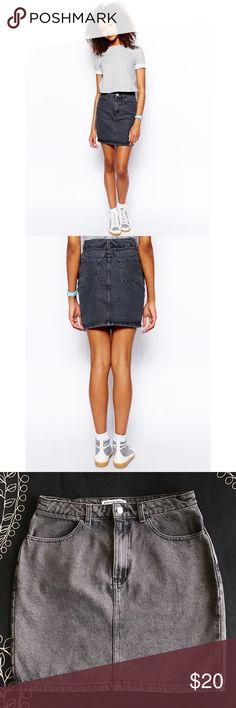 American Apparel denim skirt Faded black American Apparel high waisted denim skirt. Worn no more than 5 times. Size L. American Apparel Skirts Mini