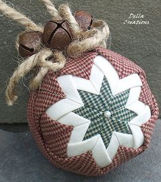 3inch Quilted Ornament  Maroon Homespun Green by DellaCreations, $13.95