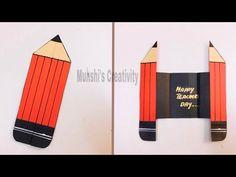 Teachers Day Card, Teachers' Day, Card Making, Creativity, Greeting Cards, Craft Ideas, Youtube, Diy, Crafts