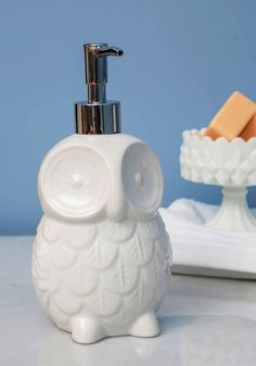 A Sophisticated and Cute Owl Soap Dispenser Ideal for Kitchen or Bathroom! - www.MyWonderList.com #owl #soap #ceramic