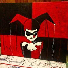 Harley Quinn DC Comics Batman Joker Painting Acrylic Art Canvas