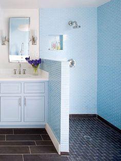 fine 38 Half Wall Shower for Your Small Bathroom Design Ideas Half Wall Shower, Double Shower, Master Shower, One Piece Shower, Shower Screen, Blue Bathrooms Designs, Small Bathrooms, Small Baths, Master Bathrooms