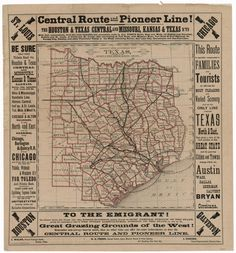 County and Railroad Map of Texas, 1876 — Medium