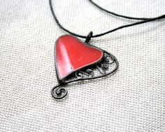 Stained glass & copper filligree red heart pendant