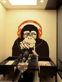 Banksy Wall Decal Monkey with Headphones, Banksy Chimp Head Listening to Music Earphones DJ Vinyl Decal Sticker, Street Art – streetart Wall Painting Decor, Mural Wall Art, Wall Stickers, Vinyl Decals, Wall Decal, Sticker Street Art, Street Wall Art, Deco Restaurant, Monkey Art