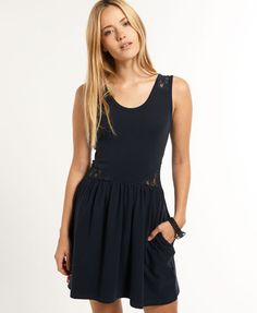 f9c74b4f5862 Shop Superdry Womens Lace Cutout Skater Dress in Eclipse Navy. Buy now with  free delivery from the Official Superdry Store.