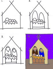 Kids art club – a simple nativity Christmas Art Projects, Christmas Arts And Crafts, Preschool Christmas, Christmas Nativity, Kids Christmas, Advent Art Projects, Christmas Drawing, Christmas Paintings, Drawing For Kids
