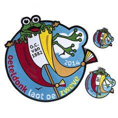 Emblemen in 3 formaten 'Oeteldonk laot oe zweve' voor Oeteldonk 2014.