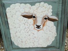 SOLD!!! Whimsical handpainted lamb sheep on vintage cupboard door CharmingShabby Chic baby nursery gift Annie Sloan Chalk paint Two Whimsies on Etsy, $125.00