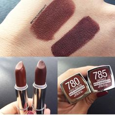 Maybelline Coffee Addiction and Chocoholic Superstay Maybelline, Maybelline Lipstick, Lipstick Swatches, Makeup Swatches, Drugstore Makeup, Lipsticks, Makeup Brands, Fall Lipstick, Lipstick Shades