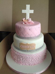 Elagant Pink and White with Ruffles Baptism Cake (Handmade baby and cross topper)