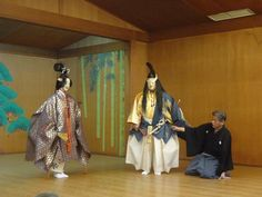 """derived from the Sino-Japanese word for """"skill"""" or """"talent""""—is a major form of classical Japanese musical drama that has been performed since the 14th century. Many characters are masked, with men playing male and female roles. Traditionally, a Noh """"performance day"""" lasts all day and consists of five Noh plays interspersed with shorter, humorous kyōgen pieces. However, present-day Noh performances often consist of two Noh plays with one Kyōgen play in between."""