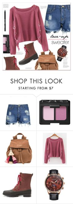 """""""lace up sweater"""" by mycherryblossom ❤ liked on Polyvore featuring NARS Cosmetics, The Wolf Gang, SOREL and Urban Decay"""