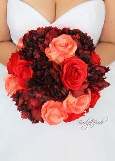 This is a stunning artificial bouquet made with wine peonies, red roses and coral roses Coral Wedding Flowers, Flower Bouquet Wedding, Coral Roses, Flower Bouquets, Burgundy Wedding, Forever Flowers, Perfect Bride, Sola Flowers, Bride Bouquets