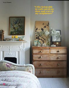 Claire Morgan / Andrew Boyd / Heart Home Magazine {gray, white, floral and wood eclectic vintage rustic modern bedroom}