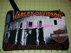 this is a bag made from a Harley Davidson t-shirt. I made this for a friend to carry on the bike when they are out riding.
