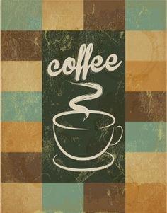 Poster retro com mão tirada xícara de café