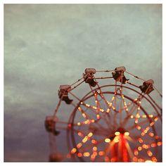 Ferris Wheel Photograph - Fine Art Photography - Summer - Fair - Lights - Star - Night - Blue - Red- Original Fine Art - on Etsy, $35.00
