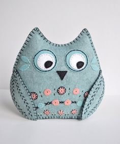 Spirit Owl plush art doll - tribal owl plush pillow - hand sewn embroidered felt animal in sea foam mint and coral color - OOAK