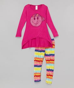 This Magenta Smiley Hi-Low Tunic & Leggings - Girls by One Love Kids is perfect! #zulilyfinds