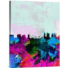 "Naxart 'Melbourne Skyline' Watercolor Painting Print on Canvas Size: 24"" H x 18"" W x 1.5"" D"