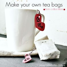 diy teabags from coffee filters: what a great idea to save money! and easy to do! ~nelliebellie.com #crafts #tea #teabags
