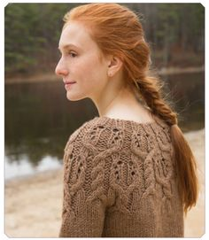 {beautiful profile and hair!} Pinecone sweater pattern by Susan Mills (knitting, pullover, cables, yoke, seamless, top-down, bulky)