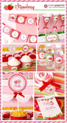 Red Pink Berry Strawberry Birthday Party