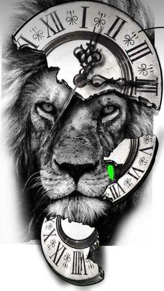 Animal Sleeve Tattoo, Lion Tattoo Sleeves, Best Sleeve Tattoos, Tattoo Sleeve Designs, Lion Head Tattoos, Mens Lion Tattoo, Tiger Tattoo, Tribal Arm Tattoos, Clock Tattoo Design