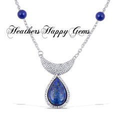 Lapis Lazuli, White Austrian Crystal Necklace. Starting at $30 on Tophatter.com!
