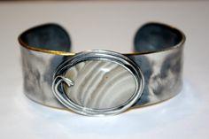 KRZEMIEŃ PASIASTY - okazała bransoleta, srebro 925