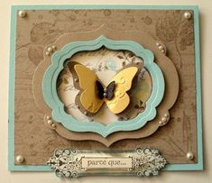 Labels collection, French Foliage, Butterfly embosslit
