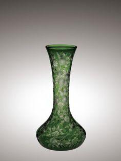Green Rock Crystal Engraved Vase | Corning Museum of Glass #glass #green #green glass #vase