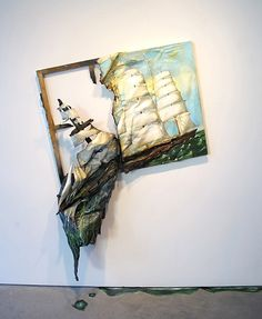 Sinking ship 3-D art. I am seriously in love. I want to make something like this inspired from the scene in Peter Pan where all the pixie dust makes the ship go UP, not down. My optimistic side likes that idea better. ;) Next art project, Carissa?